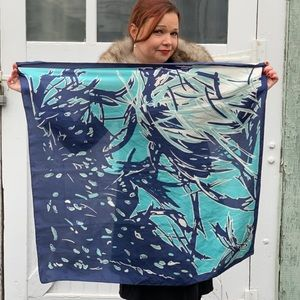 Vintage 1960s Blue Abstract Silk Scarf
